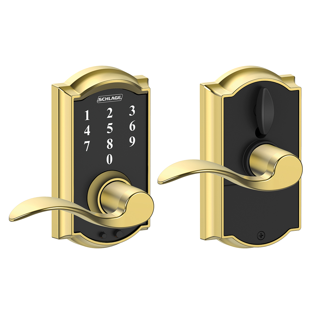 Schlage Touch tay gạt thiết kế cong, tay gạt cong, màu đồng sáng