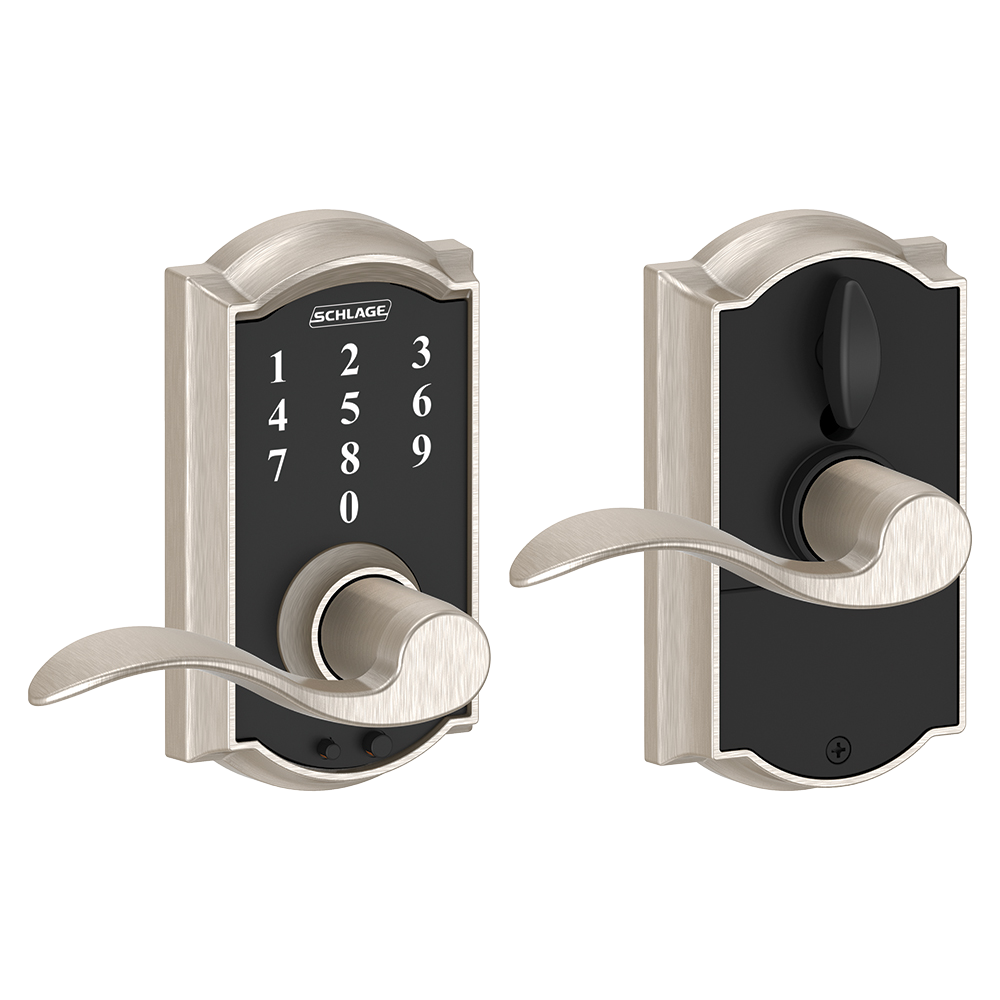 Schlage Touch tay gạt thiết kế cong, tay gạt cong, màu nickel mờ