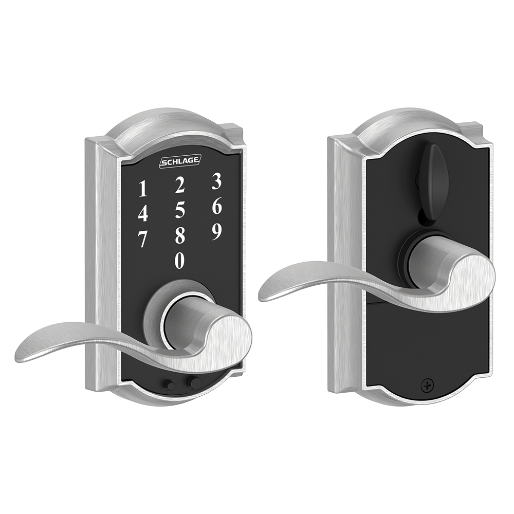 Schlage Touch tay gạt thiết kế cong, tay gạt cong, màu chrome sáng